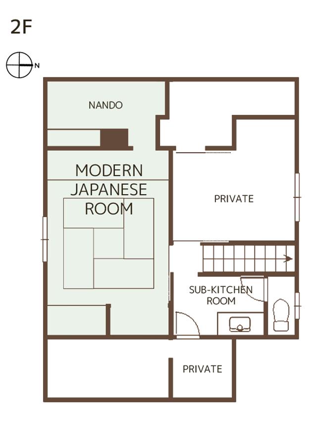 2Fには、トイレ、簡易キッチン(冷蔵庫)、ジャパニーズルーム(和室タイプの寝室)があります。<br /> 和の国の文化をサラリと味わうことのできるModern Japanese Rommは、布団での宿泊に浴衣レンタルもしています。